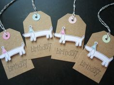 Handmade Birthday Gift Tags Dog Stamped Set of 4 by apaperaffaire, $4.75