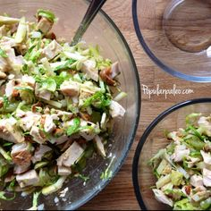 Chicken & Brussels Sprouts Salad | popularpaleo.com Appropriate for Levels 1, 2, & 3 All levels should omit the grapes and honey while on detox.