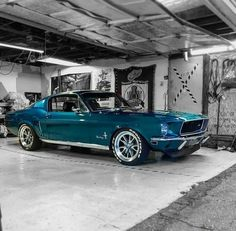 I love this Mustang, but it's the color I want to hurt the Jeep - wallismazsits Oldtimer - cars classic Blue Mustang, 1968 Mustang, Mustang Cars, Ford Mustangs, Shelby Mustang, Ford Shelby, 1968 Ford Mustang Fastback, Classic Mustang, Ford Classic Cars