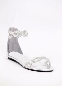 Silver Wedding Shoes flat with rhinestones (Style 800-45)