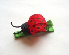 Hair Clip Lady Bug Ribbon Sculpture by punkyNmunky on Etsy by roc Ribbon Hair Clips, Ribbon Art, Ribbon Crafts, Ribbon Bows, Ribbons, Princess Hair Bows, Rainbow Loom Charms, Ribbon Sculpture, Boutique Hair Bows