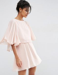 Crop cape mini skater dress by Asos. Dress by ASOS Collection, Lined chiffon, Crew neckline, Cape overlay, Split back, Regular fit - true to size, Machine...