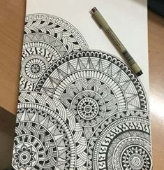 Very first mandala drawing. Very first mandala drawing. Easy Mandala Drawing, Doodle Art Drawing, Zentangle Drawings, Art Drawings Sketches, Zentangle Patterns, Easy Doodle Art, Drawing Ideas, Drawing Drawing, Zentangles