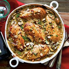 Chicken-Mushroom-Sage Casserole | An upscale chicken-and-rice casserole that gets an earthy note from fresh mushrooms and shallots. Let this dish stand a few minutes after baking so the rice will absorb the liquid, yielding a creamy texture.