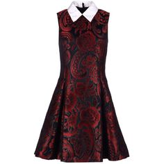 Moschino Short Dress ($1,040) ❤ liked on Polyvore featuring dresses, maroon, floral flare dress, maroon dress, mini dress, floral mini dress and sleeveless cocktail dress