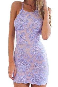 Purple Plain Embroidery Condole Belt Tie Back Lace Mini Dress