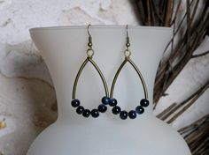 Navy and Antique Gold Hoop Earrings with Dark by SmockandStone, $13.00