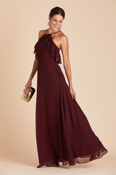 Jules Chiffon Bridesmaid Dress in Cabernet – Birdy Grey Bridesmaid Dresses Under 100, Red Bridesmaids, Affordable Bridesmaid Dresses, Burgundy Bridesmaid Dresses, Wine Color Bridesmaid Dress, Bridesmaid Ideas, Wedding Dresses, Full Length Gowns, Full Length Skirts