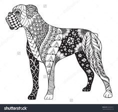 Boxer Dog Zentangle Stylized, Vector, Illustration, Freehand Pencil, Hand Drawn, Pattern. Zen Art. Ornate Vector. Lace. - 502659511 : Shutterstock