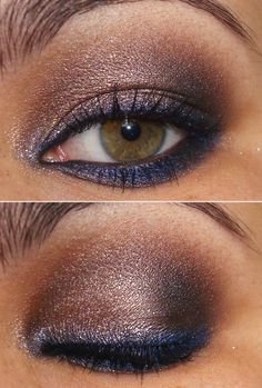 Brown shadow with purple liner...  purple & navy blue eyeliner are my secret weapons-- the look of dark liner without the harshness.. And up close, they're an unexpected pop of color.
