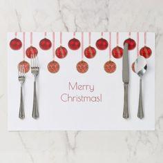 Merry Christmas Decor Red Baubles Pattern Elegant Placemat - home decor design art diy cyo custom