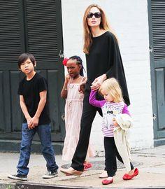 Angelina Jolie with her kids
