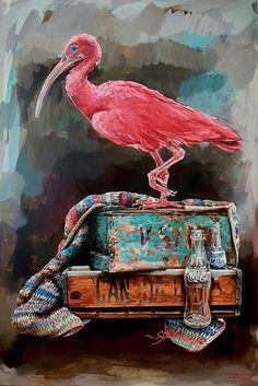 Grace Kotze | Ibis's New Perch - available for sale | StateoftheART South African Artists, Canvas Size, Pet Birds, Galleries, Contemporary Art, Original Paintings, Art Gallery, Artwork, Art Museum