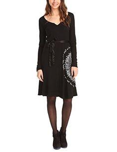 Desigual Damen Kleid VEST_MARTITA, Knielang, Gr. 34 (Herstellergröße: XS), Schwarz (NEGRO 2000)
