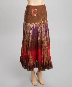 Look what I found on #zulily! Red & Purple Tie-Dye Maxi Skirt by Lazy Daisy #zulilyfinds