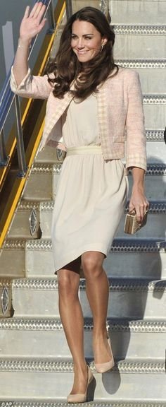 Duchess of Cambridge.. Vanessa sleeveless dress by Joseph topped with pale pink tweed jacket.. LK Bennett Natalie Clutch, and Jimmy Choo heels.