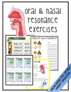 Oral & Nasal Resonance Exercises by Detig Dialect- Tricia Detig SLP Speech Language Therapy, Speech Language Pathology, Speech And Language, Speech Therapy, Speech Activities, Therapy Activities, Voice Therapy, Singing Techniques, Baby Voice