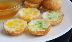 Nom Krok - coconut custard pancake - jackfruit (sweet kind) and scallion (savory)