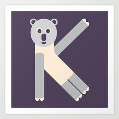 Letter K // Animal Alphabet // Koala Art Print by Jen Montgomery - $20.00