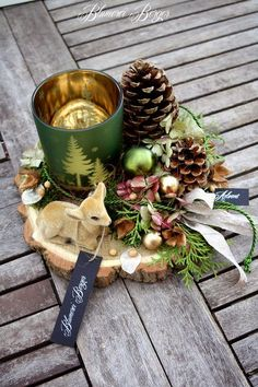 """Christmas Decorations :::: Advent Decor """"Forest Air"""" :::: – a unique product by BlumereiBerger on DaWanda Source by Christmas Tablescapes, Christmas Centerpieces, Xmas Decorations, Christmas Craft Projects, Diy And Crafts, Christmas Crafts, Christmas Ornaments, Winter Christmas, Christmas 2019"""