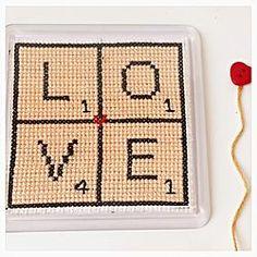 Scrabble Love Coaster Cross Stitch Letters by SundownStitcher Cross Stitch Letters, Cross Stitch Pillow, Plastic Canvas Coasters, Plastic Canvas Patterns, Cross Stitching, Cross Stitch Embroidery, Scrabble Tile Crafts, Bazaar Ideas, Tissue Box Covers