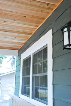 Check out how we completed a DIY cedar lined porch ceiling on our home. Step by step instructions and photos to guide you through the process! Patio Ceiling Ideas, Porch Ceiling, Back Porch Designs, Front Porch Design, Patio Design, Diy Porch, Porch Ideas, Patio Ideas, Outdoor Ideas