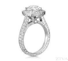 Vintage Engagement Ring with Engraving, Square Halo & Diamonds All Around