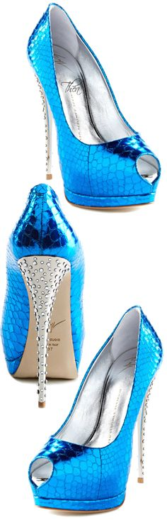 Giuseppe Zanotti ~ Blue Metallic Open Toe Pumps Crystal Heels 2015
