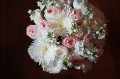 Bridal bouquet pink roses white flowers at Wandin Valley Estate. www.wandinvalley.com.au