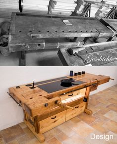 Great Home Decor Trends 2019 Design meets history! Woodworking Furniture, Woodworking Plans, Woodworking Projects, Workbench Plans, Workbench Stool, Folding Workbench, Diy Furniture Plans Wood Projects, Industrial House, Farmhouse Furniture