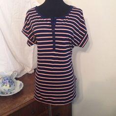 Blue & peach striped shirt by Gap Shirt is a TALL' GAP Tops Tees - Short Sleeve