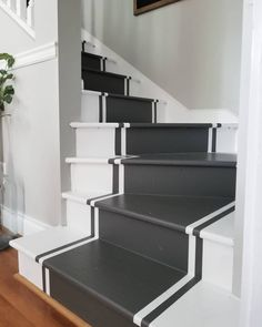 From grey solid stripes to colorful ornate patterns, discover the top 70 best painted stairs ideas. Tiled Staircase, Painted Staircases, Painted Stairs, Wooden Stairs, Staircase Design, Loft Staircase, Front Stairs, House Stairs, Carpet Stairs