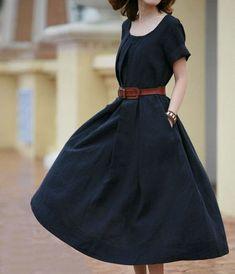 Short Sleeve Great Hem Linen Dress-zeniche.com SKU aa0107