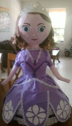 Hand-made Sofia the First Pinata. This pinata is aprox. 2.0 feet tall, it does not include candy or toy filler.     Each of our pinatas is individually hand-made. Because of this, the appearance of the pinata you purchase may vary slightly from the images shown