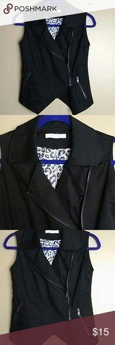 Zipper up vest. Size small .black punk look Grace size small Zipper up vest. Size small .black punk look Grace Tops
