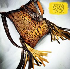 Saddle Tan Croc Cross Body Handbag with Double Fringe and Navajo Buckle by Running Roan Tack