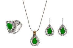 AQILA Damen Schmuck Set im Vintage Style Tropfen 925 Sterlingsilber Smaragdgrün Telkari