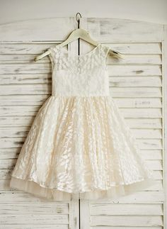 [US$ 64.99] A-Line/Princess Knee-length Flower Girl Dress - Lace Sleeveless…
