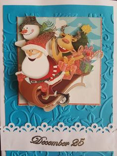 3D decoupage handmade embossed Christmas greeting card - Santa, Rudolf and Snowman in the sleigh full of presents, December 25 by ArtDenia on Etsy
