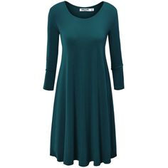 LL Womens Round Neck 3/4 Sleeves Trapeze Dress (275 MXN) ❤ liked on Polyvore featuring dresses, blue dress, round neck dress, three quarter length sleeve dress, tent dress and 3/4 length sleeve dresses