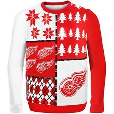 Detroit Red Wings Red Busy Block Ugly Sweater
