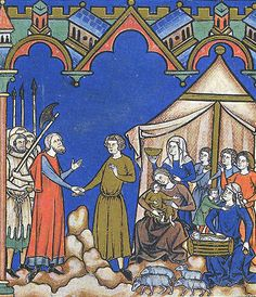 From the Maciejowski Bible. circa 1250. Made in France, commissioned by Louis IX, from there to Italy and from there to Poland.