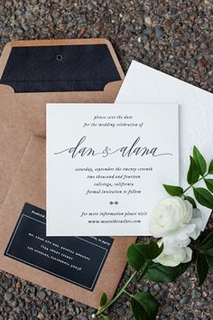 Black and White Vintage-Inspired Blind Emboss Letterpress Save the Dates via Oh So Beautiful Paper: http://ohsobeautifulpaper.com/2014/06/alana-dans-blind-emboss-letterpress-save-dates/ | Design: Vellum & Vogue | Calligraphy: Anne Robin | Photo: Erin Hearts Court #wedding