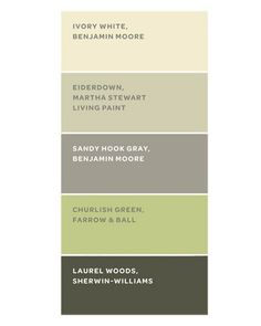 """Really liking this right now. """"The home's color scheme was inspired by the woods outside. These paints are similar to the ones the owner used. Ivory White is a fail-safe trim color. Eiderdown, in the guesthouse common room, reflects the surrounding trees. Sandy Hook Gray, on the porch wall, bridges the interior and exterior. Churlish Green gives the living room a spring feel. Laurel Woods, on the porch furniture, is a softer alternative to black."""" AllisonNicole1"""