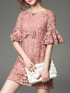 Floral Short Sleeve Embroidery Mini Dress