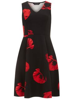 Poppy Print Scuba Fit and Flare Dress