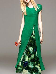 Green Two Piece Silk Short Sleeve Slit Two Piece Maxi Dress
