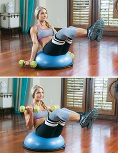 Workout Turn your program on its edge with Lori Harder's killer core and upper body circuit. Bosu Workout, Gym Workouts, At Home Workouts, Ball Workouts, Swimming Workouts, Swimming Tips, Workout Board, Workout Routines, Lori Harder