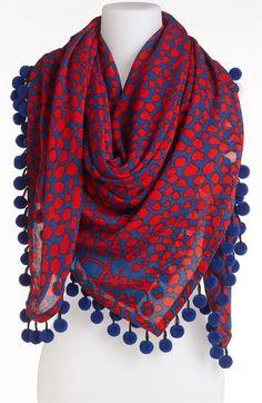 Diane von Furstenberg 'New Rochelle' Scarf - Nordstrom Pompom Scarf, New Rochelle, Hijab Style, Designer Scarves, Kurta Designs, Cotton Scarf, Sleeve Designs, Diane Von Furstenberg, Beanies