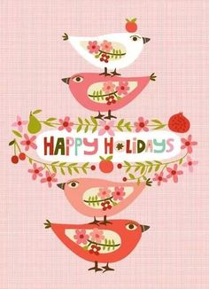 Vintage holiday birds graphic